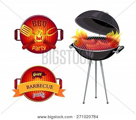 Bbq Party Barbecue Isolated Icons Vector. Frying Pan Spatula And Fork With Flame. Roaster And Sausag