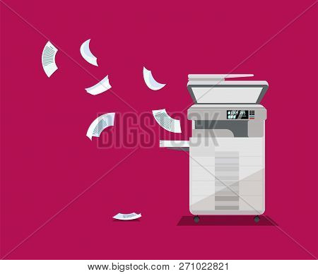 Big Floor Professional Office Copier, Multifunction Printer Printing Paper Documents On Bright Backg