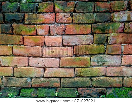Old Brick Wall With Mos For Background
