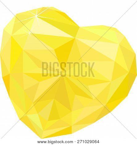 Bright Heart Shape Topaz Isolated On White Background. Vector Illustration.