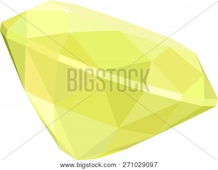 Bright Yellow Citrine Or Topaz Isolated On White Background. Vector Illustration.