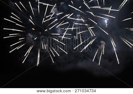 Fireworks. Firework. Heavenly Background. Colorful Wave Of Bright Twinkling These Brilliant Lights I