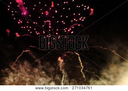 Fireworks. Firework. Heavenly Background. Colorful Wave Of Bright Twinkling Red Glittering Lights In