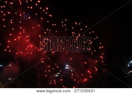 Fireworks. Firework. Heavenly Background. A Colorful Wave Of Bright Twinkling Scarlet Lights In The