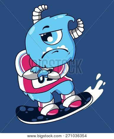 A disgruntled cartoon monster. The monster rides a snowboard. Vector illustration of blue monster. Blue cartoon monster with one eye. Print design on t-shirt poster