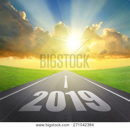 2019 New Year Concept Asphalt Road With Arrow Date