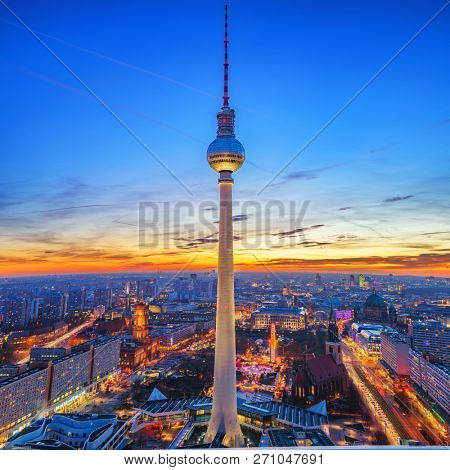 Aerial view on Alexanderplatz and Berlin city at sunset, Berlin, Germany