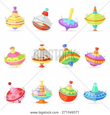 Top Toy Vector Kids Whirligig Humming Spinner Colorful Spinning Playing Game Illustration Set Of Car