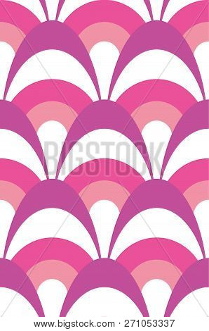 Layered Modern Scalloped Pink, Purple And White Seamless Vector Pattern Great For Valentine Projects