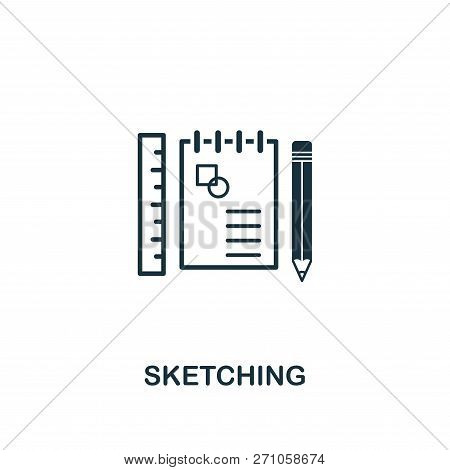 Sketching Icon. Premium Style Design From Design Ui And Ux Icon Collection. Pixel Perfect Sketching
