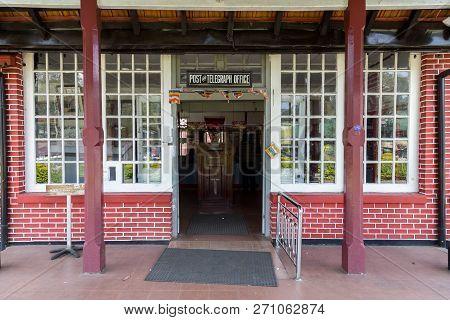 Nuwara Eliya, Sri Lanka - August 6, 2018: Entrance To The Post Office Building, One Of The Oldest Po