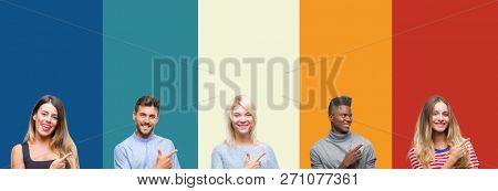 Collage of group of young people over colorful vintage isolated background cheerful with a smile of face pointing with hand and finger up to the side with happy and natural expression on face