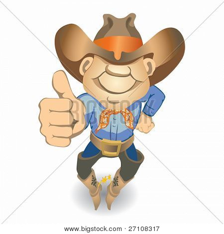 Thumbs Up Cowboy (also available vector version of this image in our gallery)