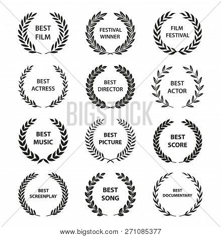 Film Awards. Set Of Black And White Silhouette Award Wreath. Vector Illustration.