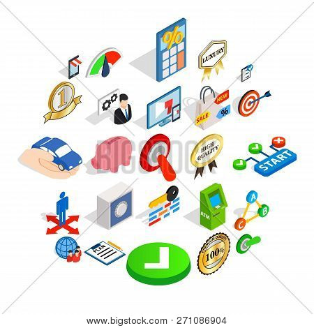 Leadership Icons Set. Isometric Set Of 25 Leadership Icons For Web Isolated On White Background