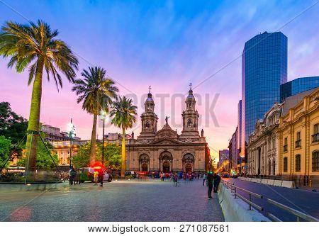 Santiago De Chile, Chile: Plaza De Armas At Sunset