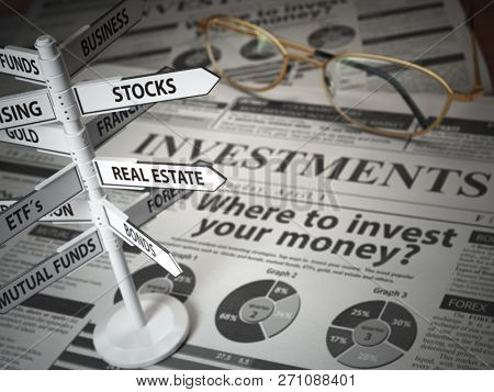 Investmments and asset allocation concept. Where to Invest? Newspaper and direction sign with investment options. 3d illustration