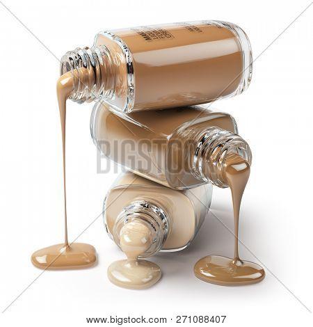 Make up liquid foundation cream cosmetics bottles isolated on white background. 3d illustration