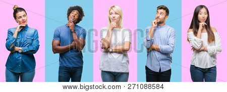 Collage of group of young casual people over colorful isolated background with hand on chin thinking about question, pensive expression. Smiling with thoughtful face. Doubt concept.