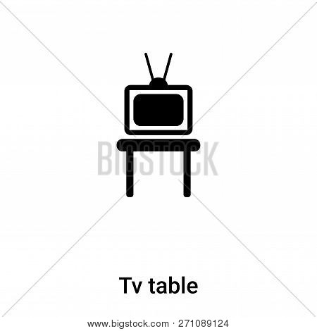 Tv Table Icon In Trendy Design Style. Tv Table Icon Isolated On White Background. Tv Table Vector Ic