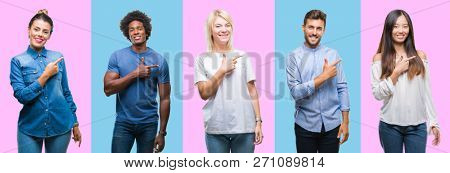 Collage of group of young casual people over colorful isolated background cheerful with a smile of face pointing with hand and finger up to the side with happy and natural expression on face