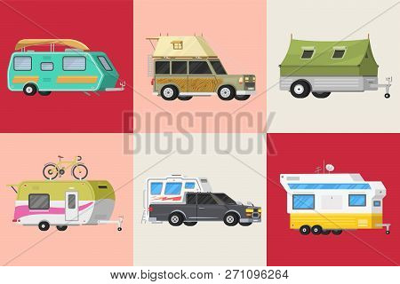A Set Of Trailers Or Family Rv Camping Caravan. Tourist Bus And Tent For Outdoor Recreation And Trav