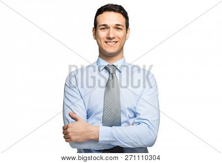 Smiling young manager portrait isolated on white