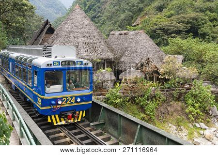 Aguas Calientes, Peru - Sep 14, 2018: Peru Rail Train Arriving At Machu Picchu Station In Aguas Cali