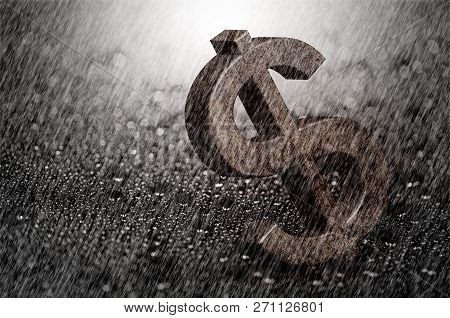 Falling Heavy Rain Drop On Rusty Dollar Sign, Concept Of Finance Depression