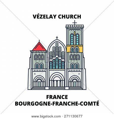 France, Bourgogne-franche-comte - Vezelay, Church And Hill Line Travel Landmark, Skyline, Vector Des