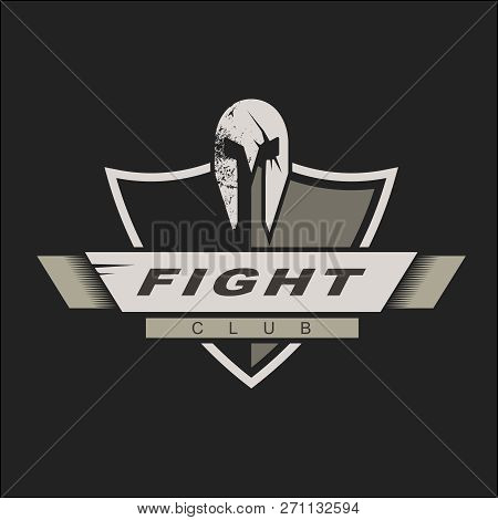 Logo Template With Spartan Helmet And Shield. Fight Club Logo Design. Vector Illustration. Knights L