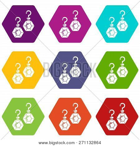 Emerald earrings icons 9 set coloful isolated on white for web poster