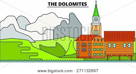 The Dolomites  Line Travel Landmark, Skyline, Vector Design. The Dolomites  Linear Illustration.