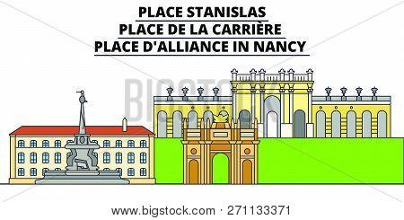 Place Stanislas - Place De La Carriere - Place Dalliance In Nancy  Line Travel Landmark, Skyline Vec