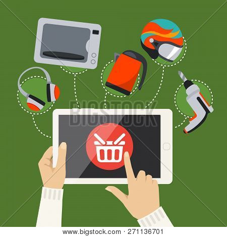 Human Hands Hold And Tap On Screen Of Smart Tablet With Buy Button With Shopping Basket, Goods Are D