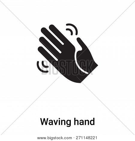 Waving Hand Icon In Trendy Design Style. Waving Hand Icon Isolated On White Background. Waving Hand
