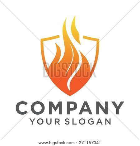 Flame Shield Logo Vector Template. Fire Logo Design Graphic. Torch Logo Design Element. Hot Fire Ico