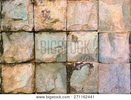 Square Stones In A Rectangular Pattern 3 Stone By 4 Stones. Stones Are Hand Cut And Consist Of Color