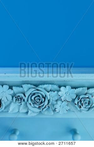 Blue Shelf With Rose Carving