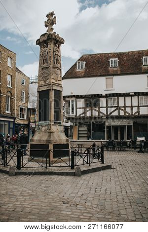 Canterbury, England - October 28th, 2018: Canterbury War Memorial Monolith In The Village Of Canterb