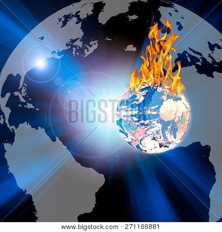 Symbolic composition. Burning Planet Earth. 3D rendering