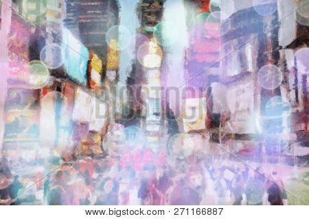 Times Square, New York. Surreal painting. 3D rendering