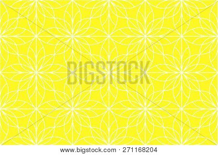Flower Geometric Pattern. Seamless Vector Background. White And Yoellow Rnament. Ornament For Fabric