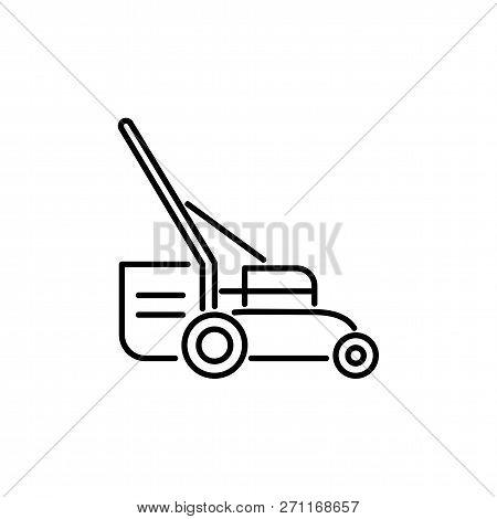 Black & White Vector Illustration Of Lawn Mower. Line Icon Of Grass Cutter Machine. Gardening & Land