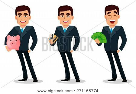 Business Man Cartoon Character In Formal Suit, Pack Of Body Parts, Emotions And Things. Build Your P
