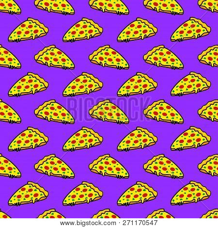 Abstract Seamless Pizza Pattern For Girls Or Boys. Creative Vector Background With Italian Pizza, To