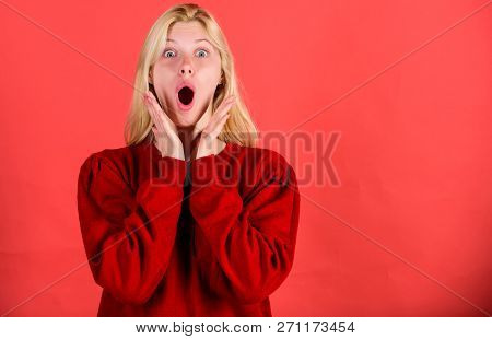 Surprised Woman Cant Believe Her Eyes. Christmas Is Coming Soon. Lack Of Time. Shocked Face Blonde G