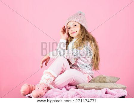 Winter Fashion Warm Clothes Concept. Child Long Hair Warm Woolen Hat Enjoy Warm. Warm Accessories Th