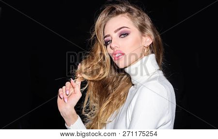Barbershop. Stylish hairdo. Haircare. Hair shampoo. Gorgeous curly hair. Beautiful woman with long blonde hair. Sexy sensual beautiful girl. Romantic woman with long flying hair and perfect makeup. poster