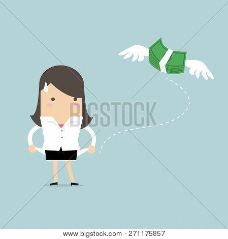 Businesswoman Has No Money Cartoon Character. Vector